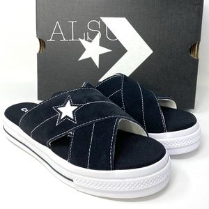 Converse One Star Sandal Suede Slip Black Egret W